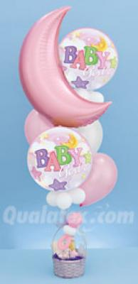 Baby Girl Dreamland Balloon bouquet with basket